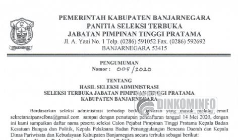 PENGUMUMAN HASIL SELEKSI ADMINISTRASI SELEKSI TERBUKA JABATAN PIMPINAN TINGGI KAB. BANJARNEGARA TAHUN 2020