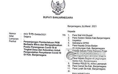 PPKM di Banjarnegara resmi diperpanjang sampai 5 April 2021